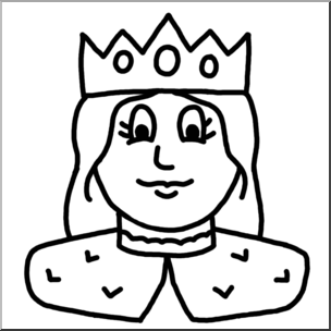 Queen Face Clipart Black And White.