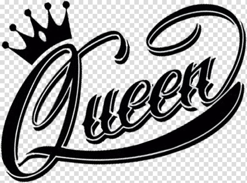 Queen illustration, Logo Queen Black and white, queen.