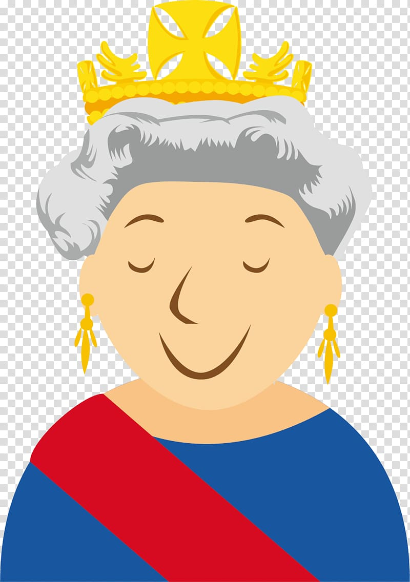 Queen Elizabeth , London Cartoon , The queen of England smiles.