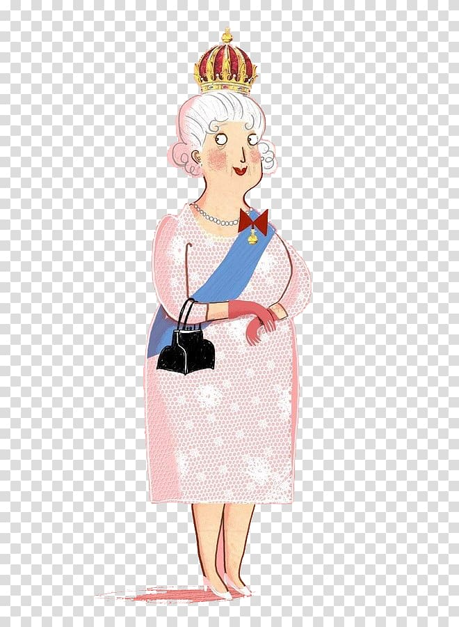 England Cartoon Illustration, Queen of England transparent.