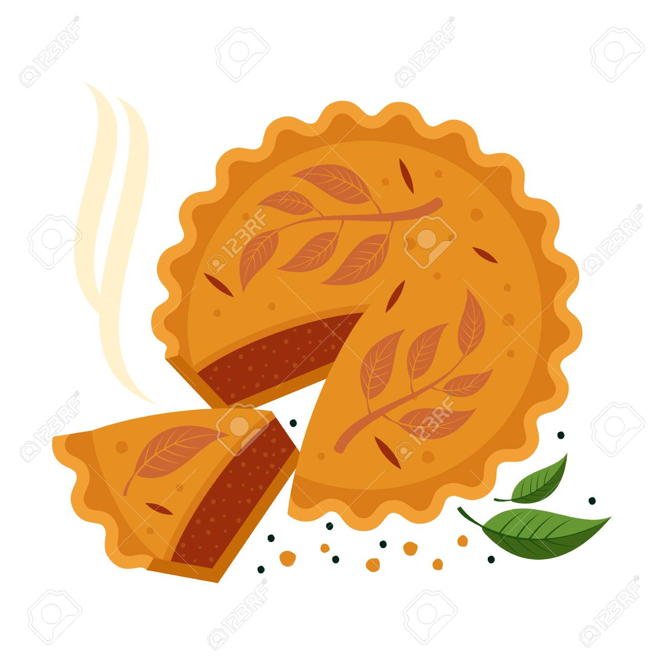 Meat pie, roll, quiche vector flat full color illustration. Hot,...