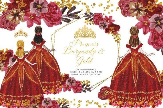 Quinceanera clipart, Floral Princess Burgundy & Gold.