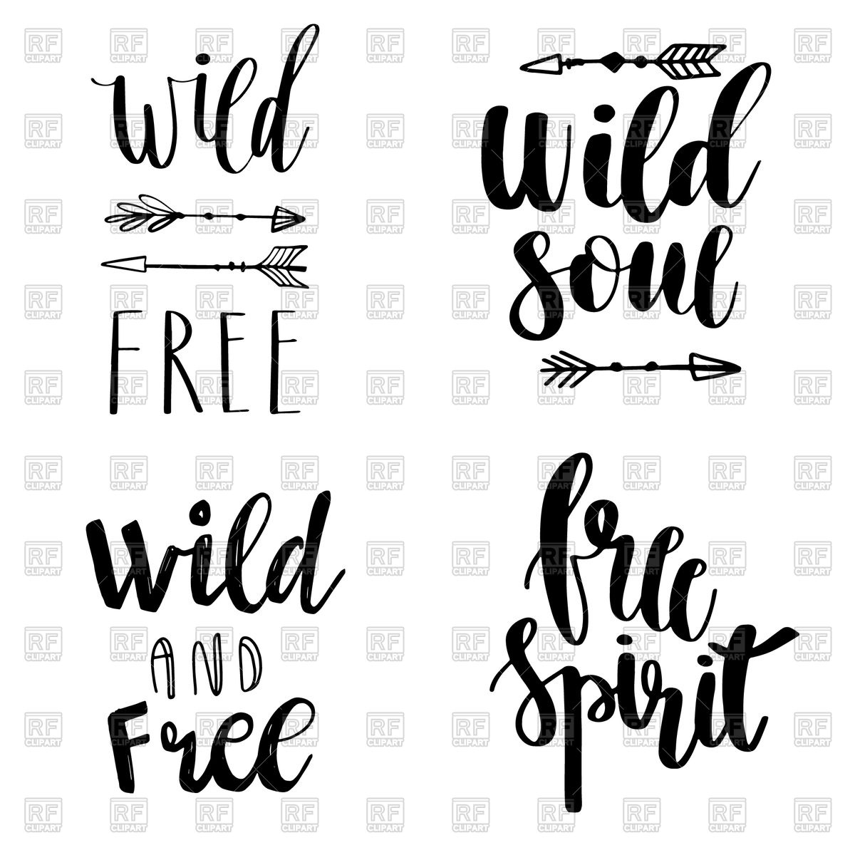 Set of Boho Style Lettering quotes Stock Vector Image.