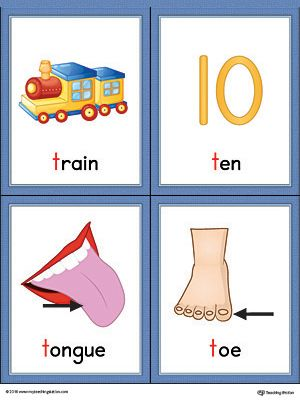 Letter T Words and Pictures Printable Cards: Train, Ten.