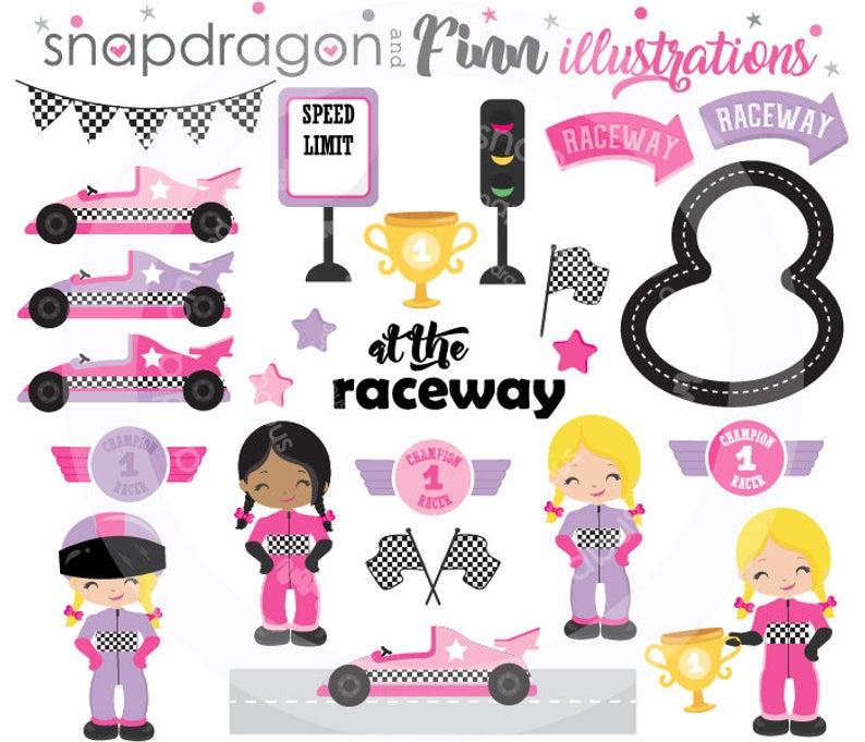 BUY5GET5 Girl Racing Clipart, Pink Purple Race Car Clipart, Race Car Driver  Clipart, racecar clipart, digital images,.