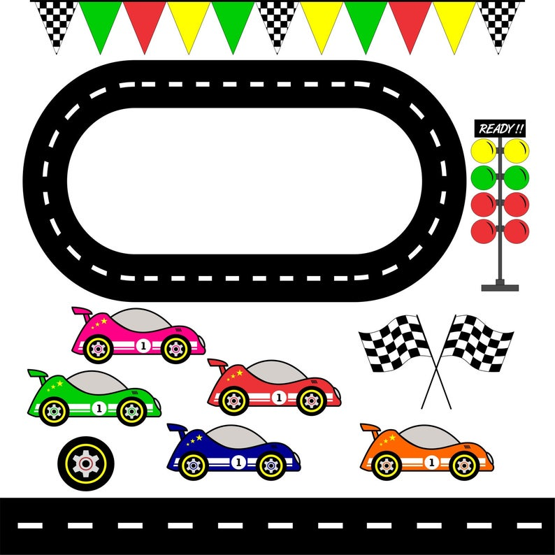 Racing Cars, Race Track Clipart / Checkered Flag/ graphic image/ Printable  / Scrapbook Digital Image / Instant Download / Commercial Use.