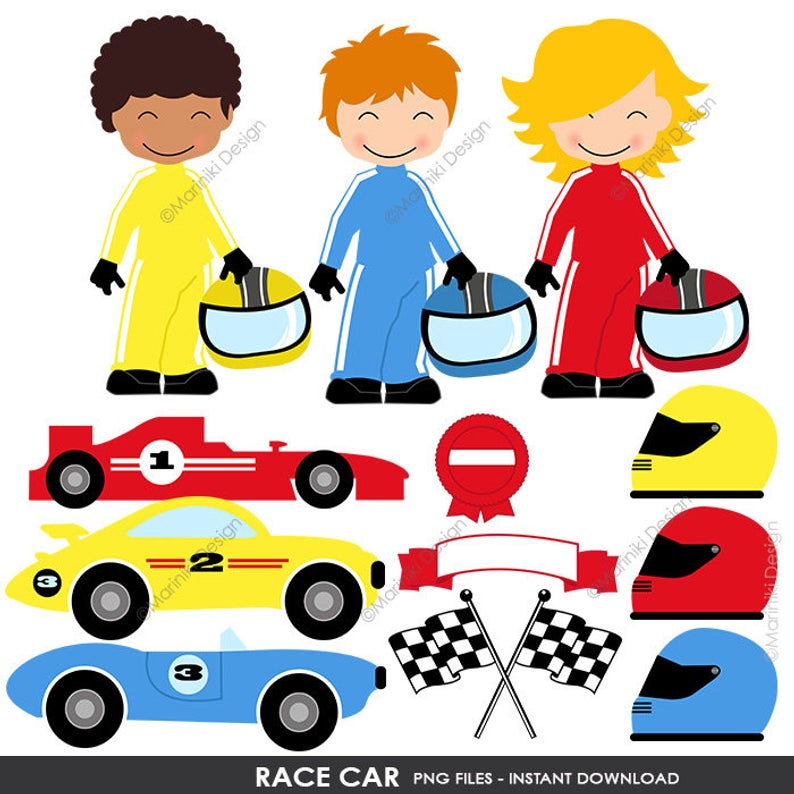 Race Car Clipart, Racing Clip Art, Race Cars Transportation Clipart for  Birthday Invitation Scrapbook INSTANT DOWNLOAD CLIPARTS C86.