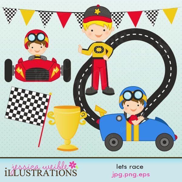 Lets Race Cute Digital Clipart.