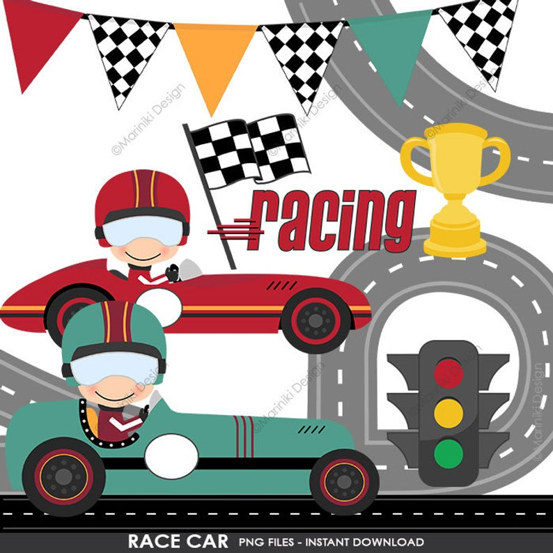 Race Car Clipart, Racing Clip Art, Race Cars Transportation Clipart for  Birthday Invitation Scrapbook INSTANT DOWNLOAD CLIPARTS C128.