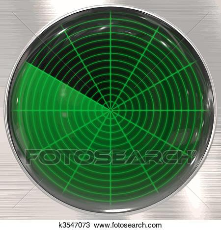Radar or sonar screen Clipart.