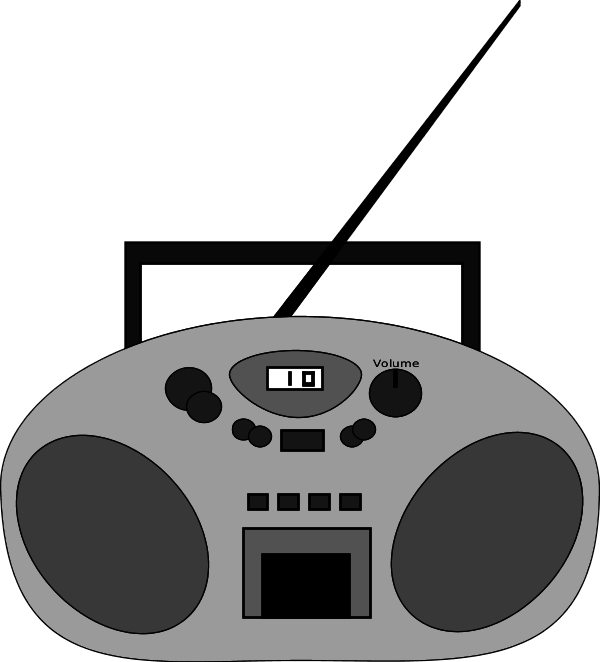 Radio with antenna vector clip art.