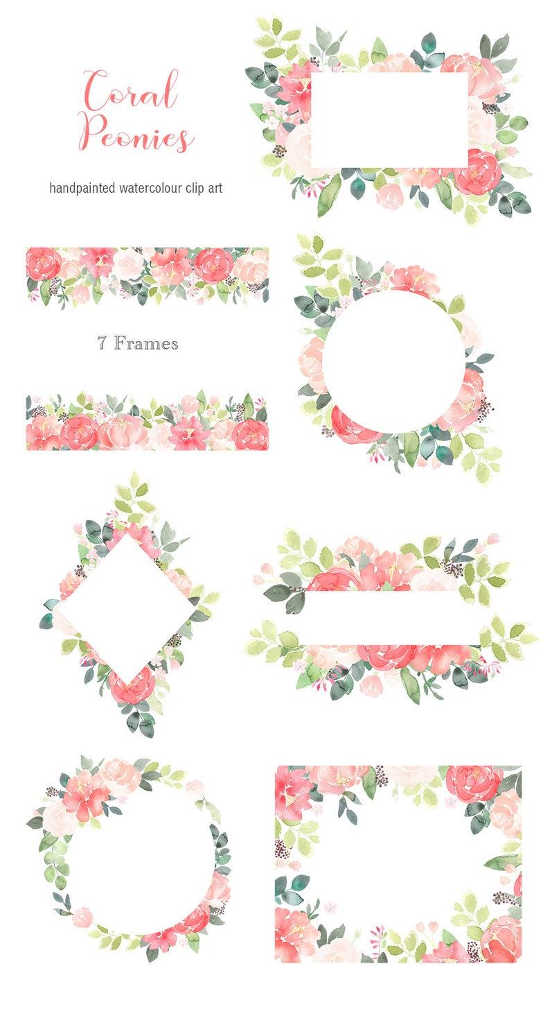 Pfingstrose Blumen Clipart Rahmen.