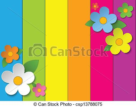 Vectors Illustration of Beautiful Spring Flowers Rainbow.