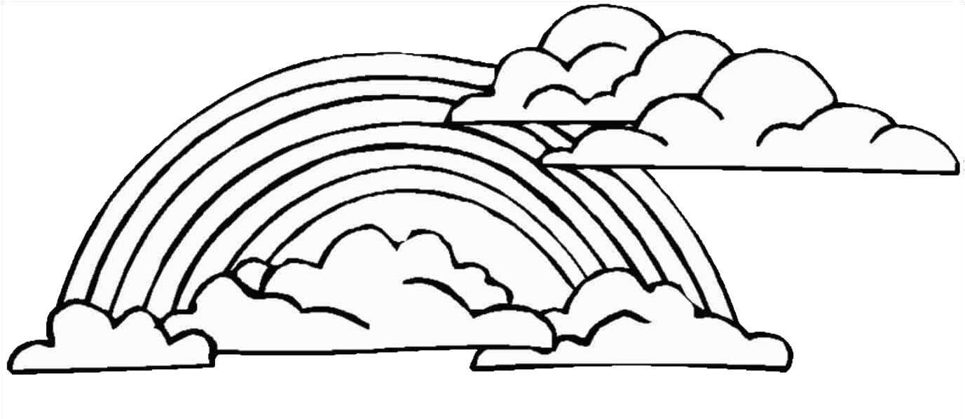 Rainbow Clipart Black And White Clouds, Transparent.