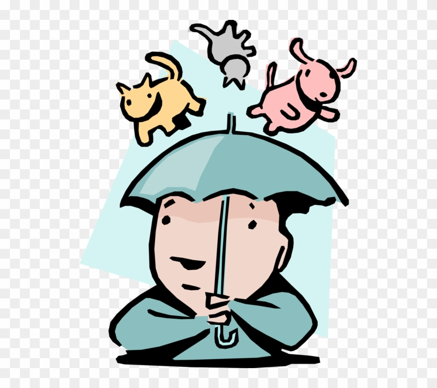 Vector Illustration Of Raining Cats And Dogs Idiom.