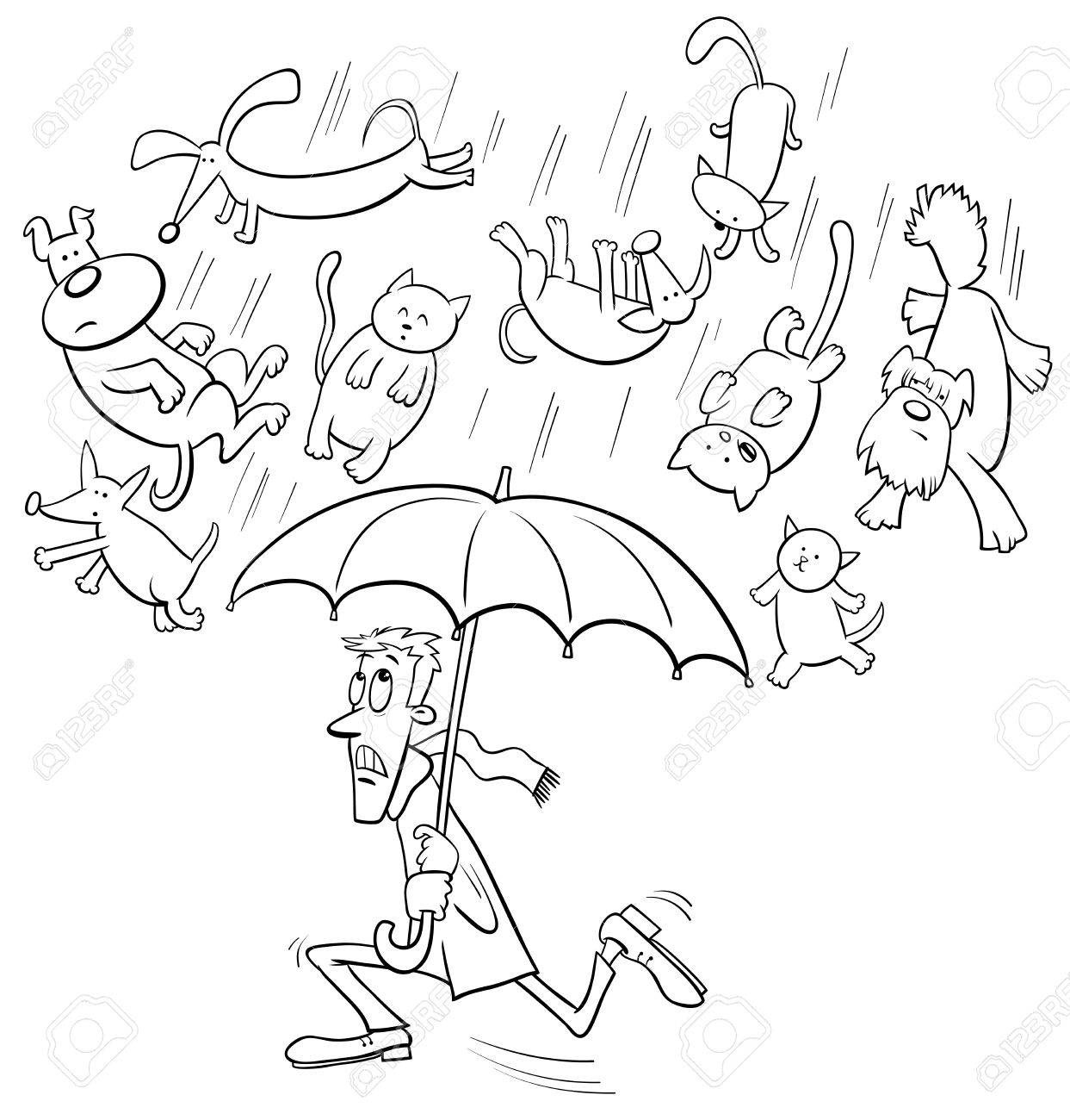 Raining cats and dogs cartoon illustration » Clipart Station.
