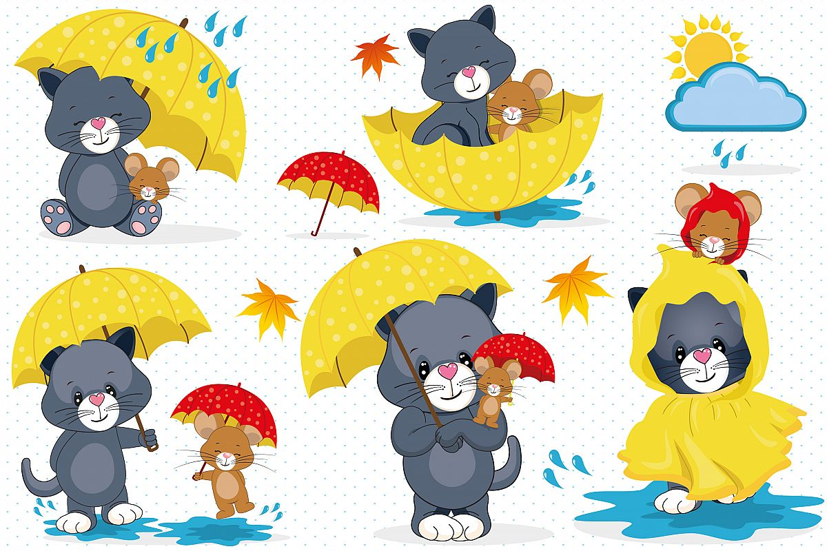 Rainy day clipart, Rainy day illustrations.