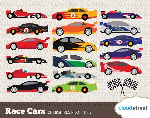 BUY 2 GET 1 FREE Race Car clip art.