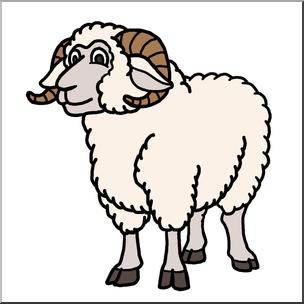 Clip Art: Cartoon Sheep: Ram Color I abcteach.com.
