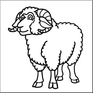 Clip Art: Cartoon Sheep: Ram B&W I abcteach.com.