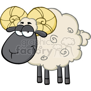 Royalty Free RF Clipart Illustration Cute Black Head Ram Sheep Cartoon  Mascot Character clipart. Royalty.