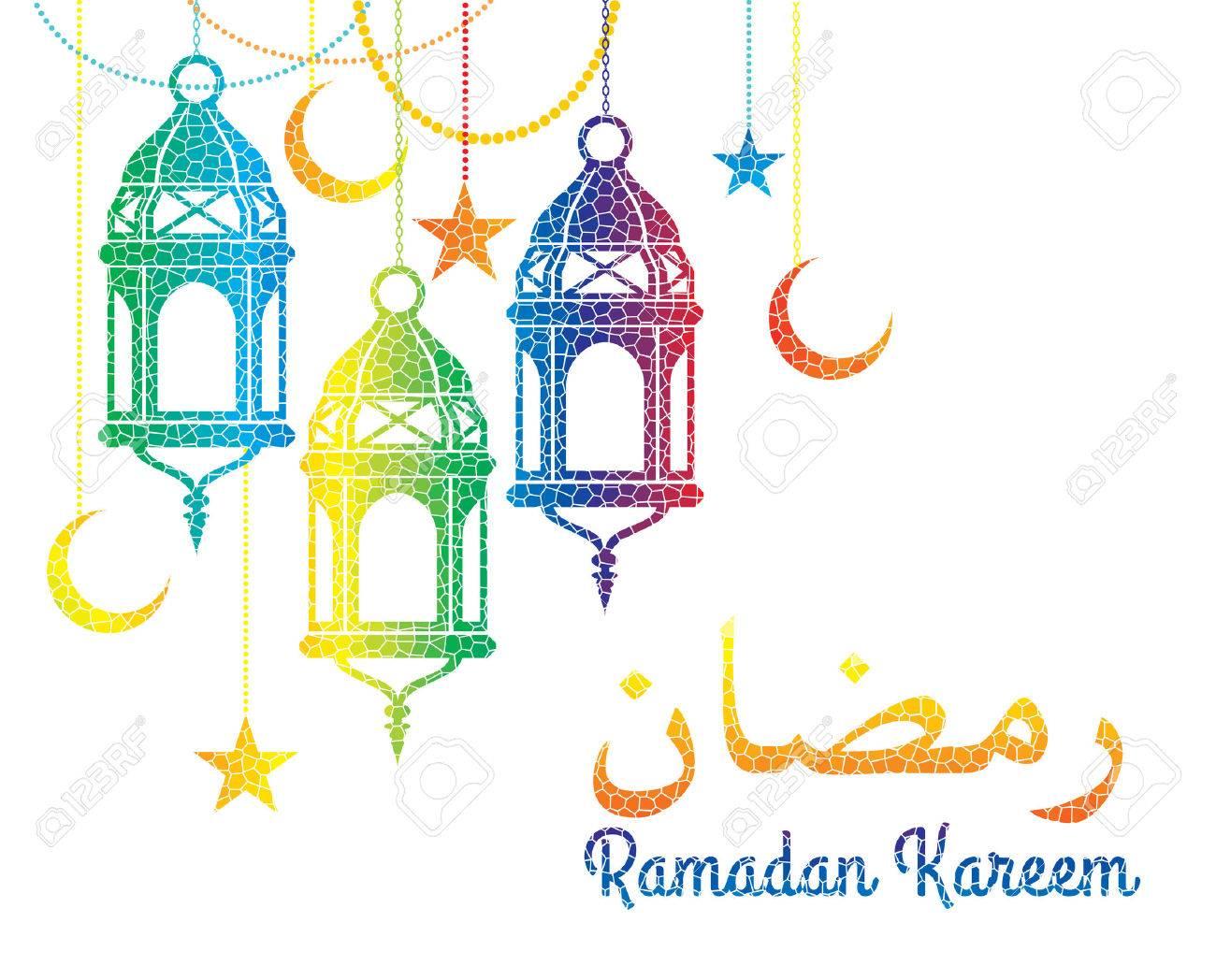 Ramadan Kareem. Vector Illustration.Colorful mosaic background..