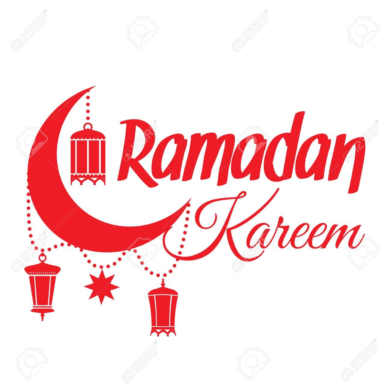 Ramadan Kareem greeting card. Islamic crescent moon and lantern...