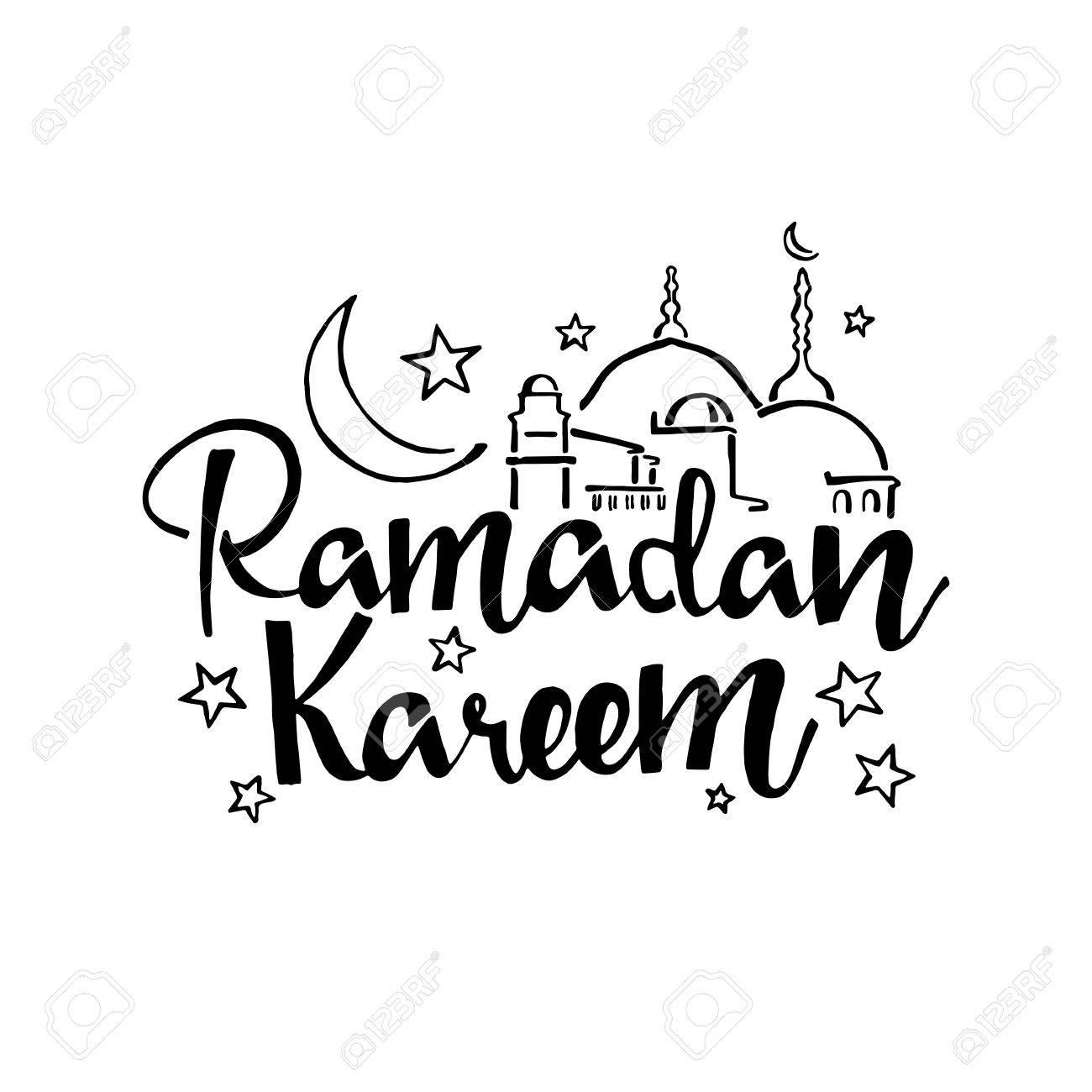 Ramadan Kareem handwritten lettering. Modern Calligraphy. Vector...