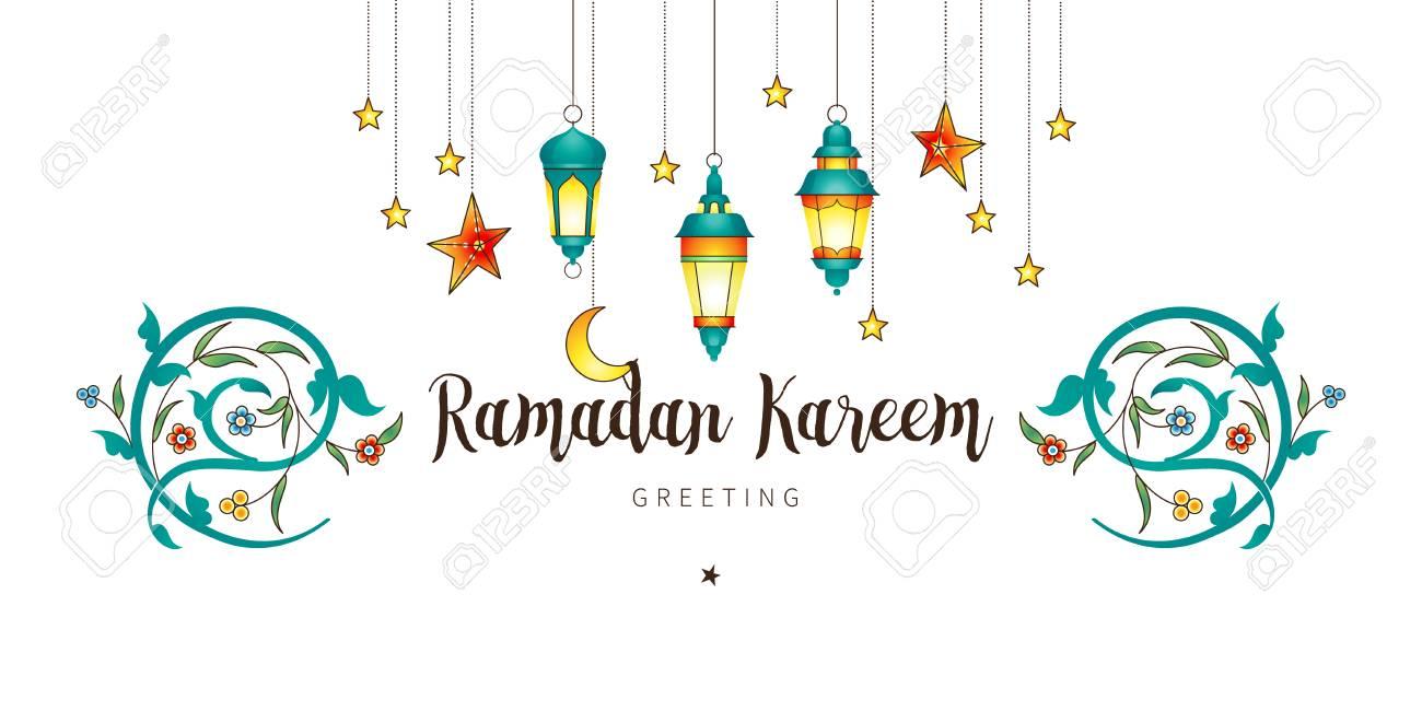 Vector Ramadan Kareem card. Vintage banner with lanterns for...