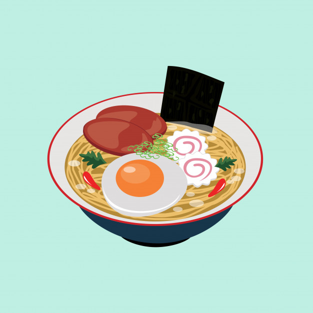 Japanese food ramen noodles illustration vector clipart Vector.