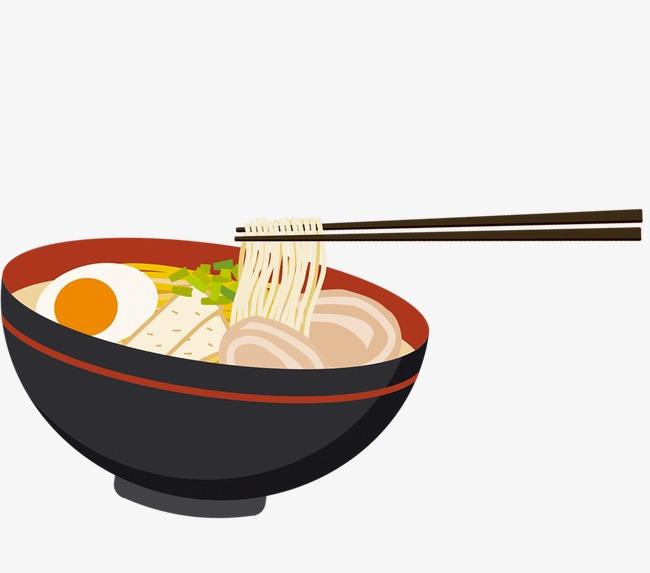 Ramen, Black Bowl, Egg, Chopsticks PNG Transparent Image and Clipart.