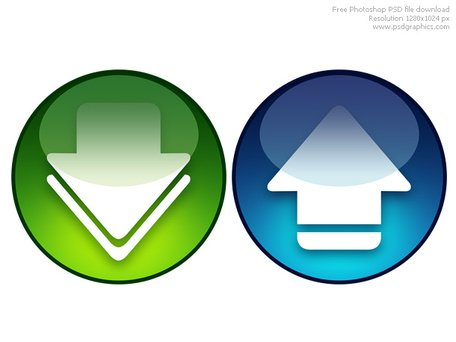 PSD download and upload icons Clipart Picture Free Download.