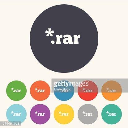 Archive file icon. Download RAR button. Clipart Image.