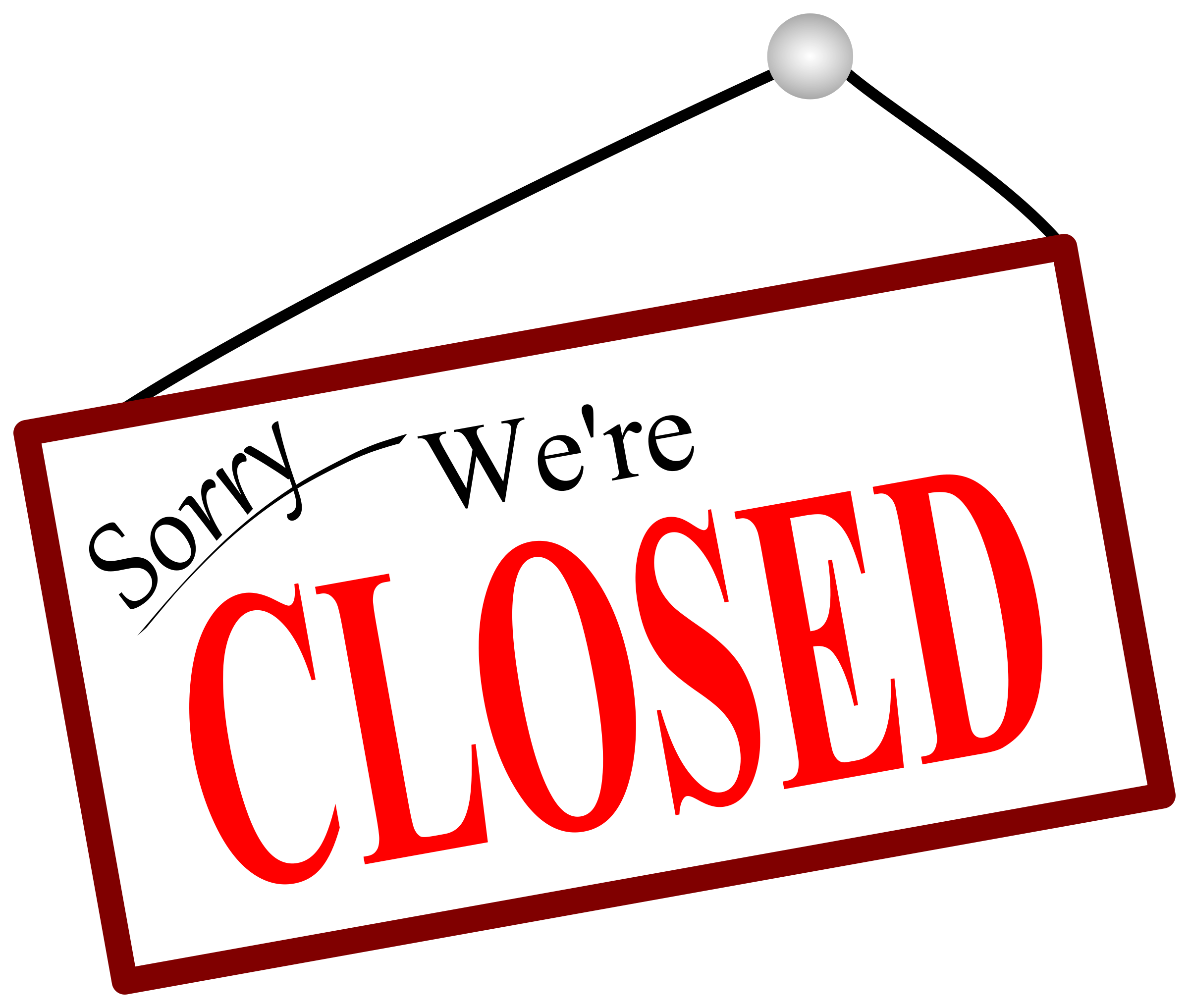 Sorry We're closed sign vector clipart image.