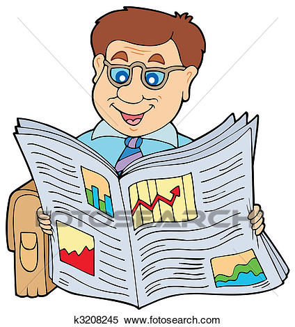 Businessman reading newspaper Clipart.