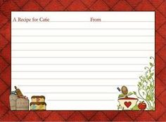 Recipe card clipart 1 » Clipart Station.