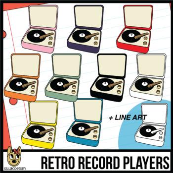 Retro Record Player Clip Art.