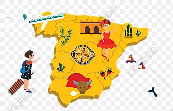 Spanish Tourist Map Cartoon Version, Map Clipart, Cartoon Clipart.