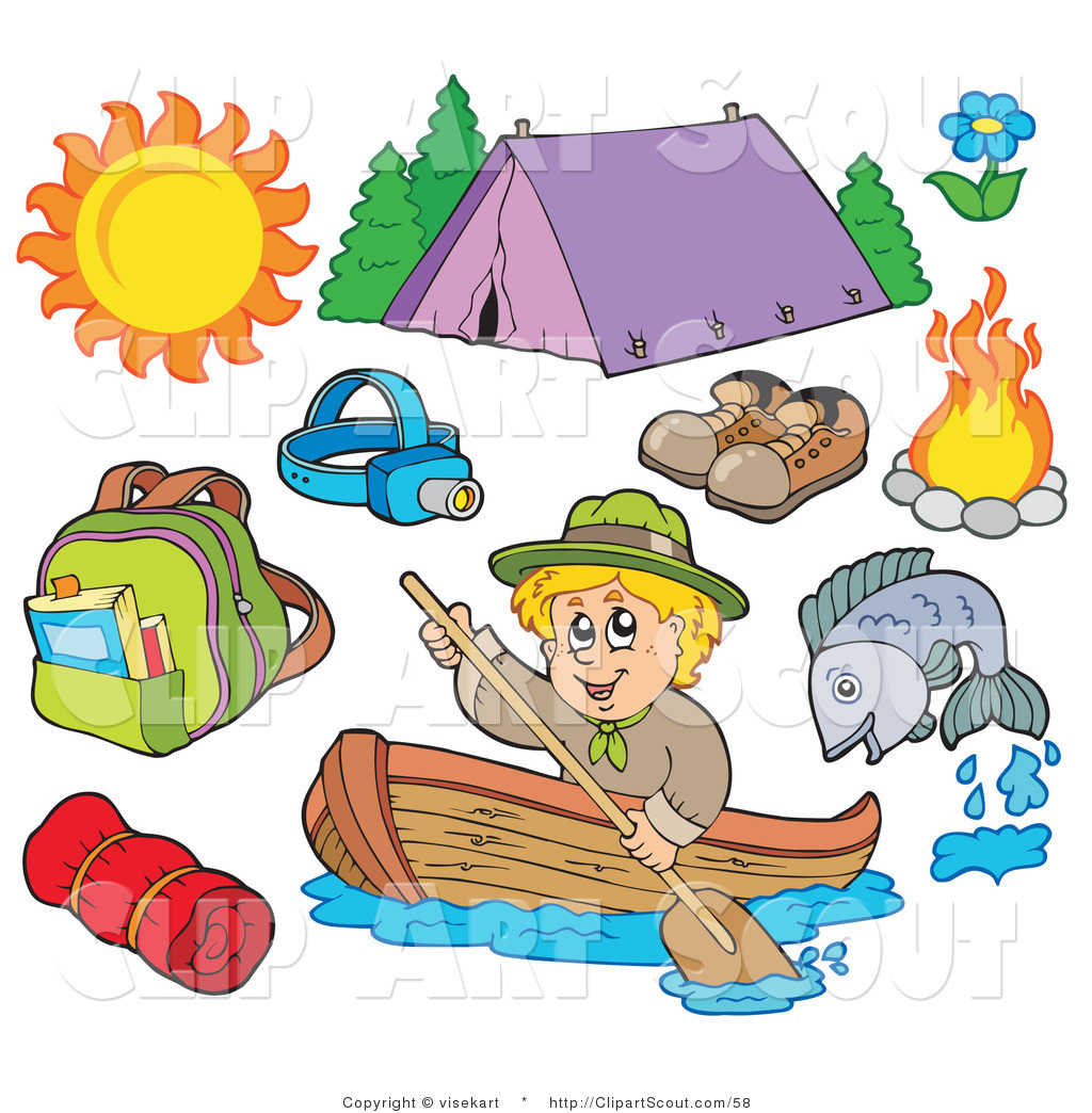 Clipart of an Ourdoor Sports Digital Collage of Summer Recreation.
