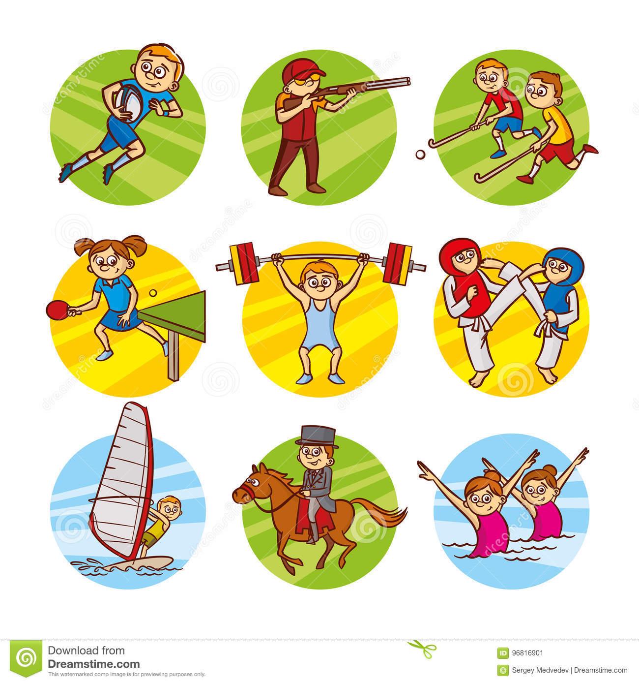 Cartoon Kids Sport Set Vector Clip Art Stock Illustration.