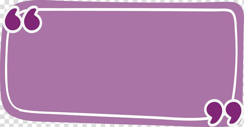 Message box illustration, Rectangle Quotation Purple, Purple.