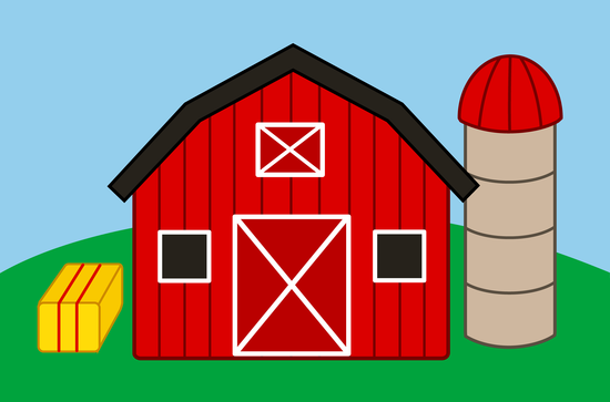 Free clip art of a cute red barn and silo on a farm.