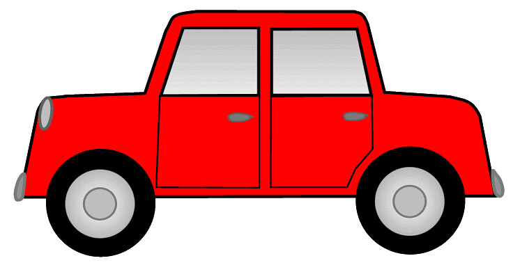 Red car sketch clipart, 12cm long.
