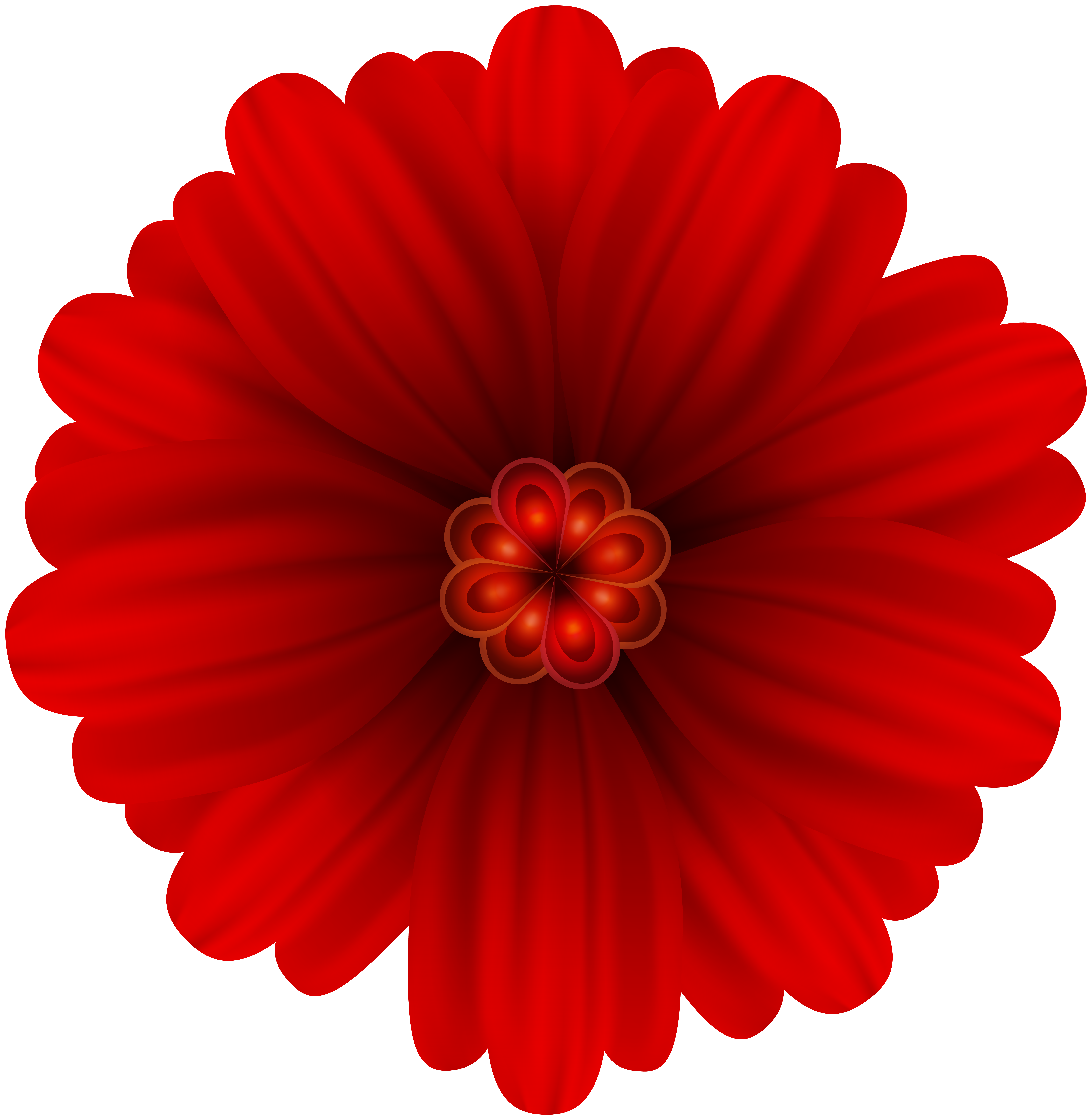 Red Flower Deco PNG Clip Art.