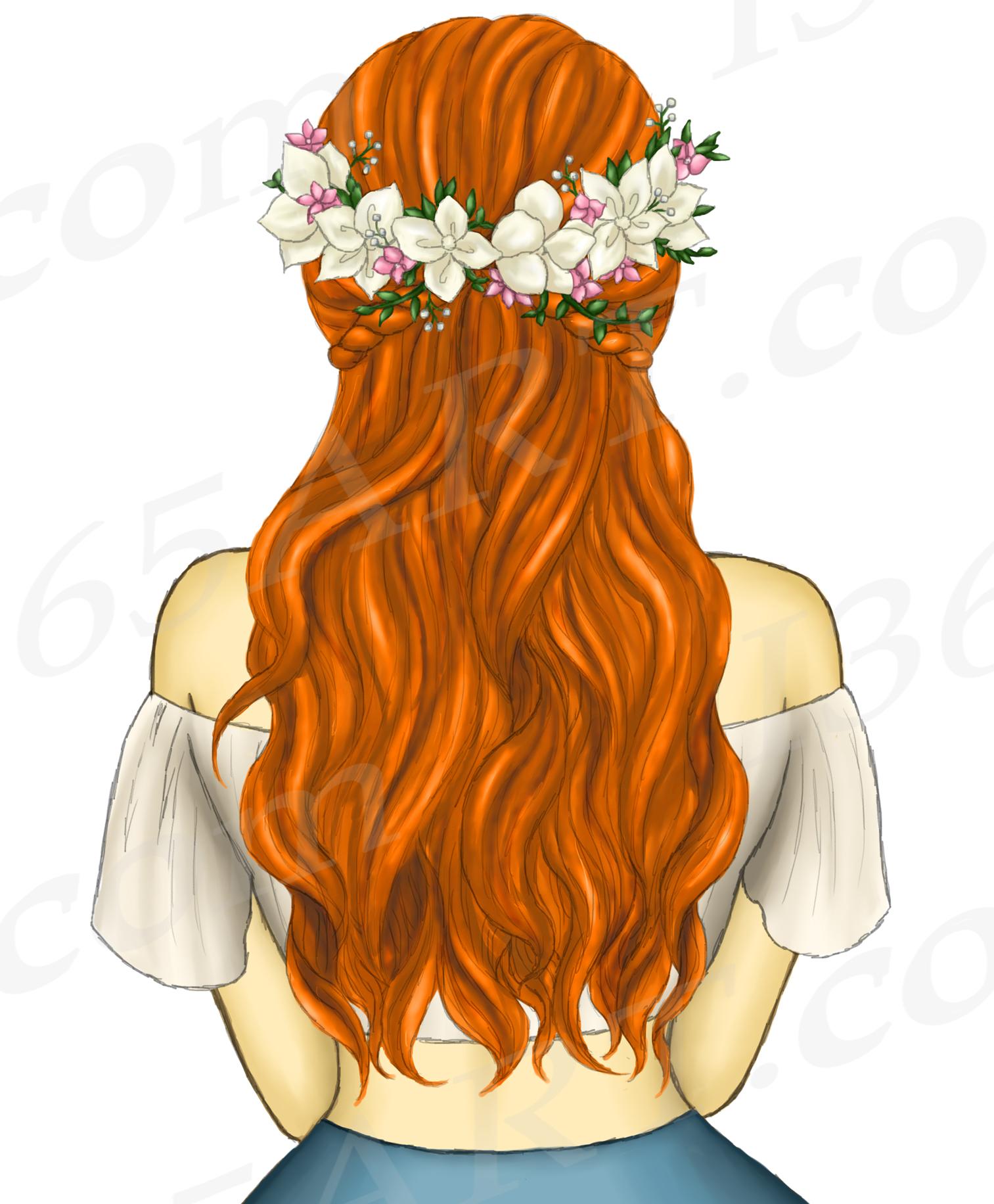 Boho Ginger Red Hair Girls Fashion Clipart, Flower Wreath.