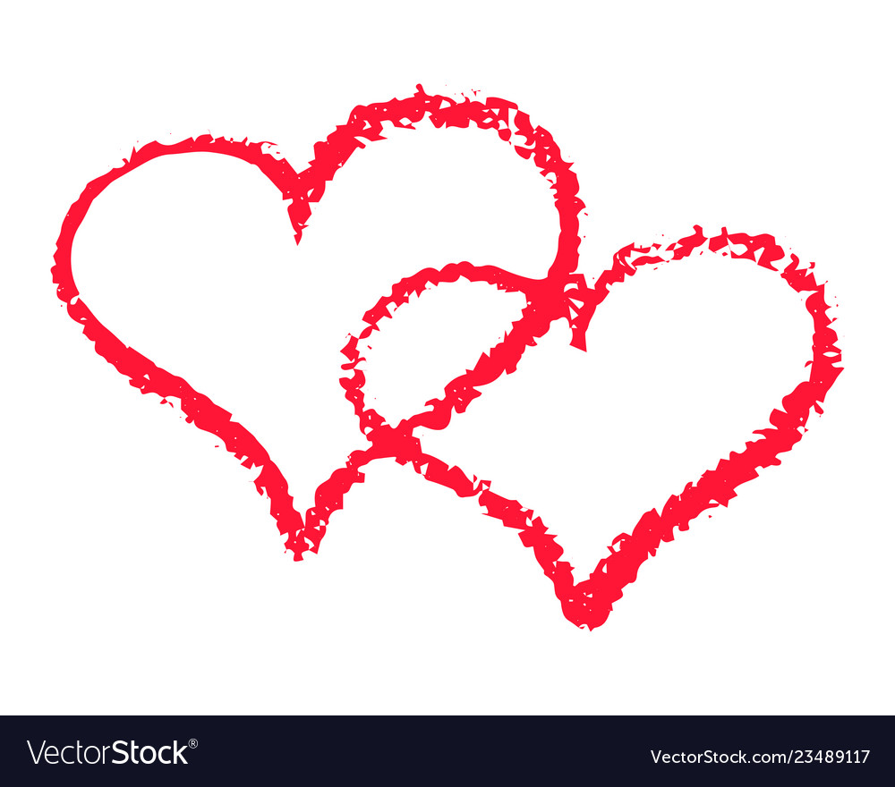 Two red hearts outline romantic chalk clipart.