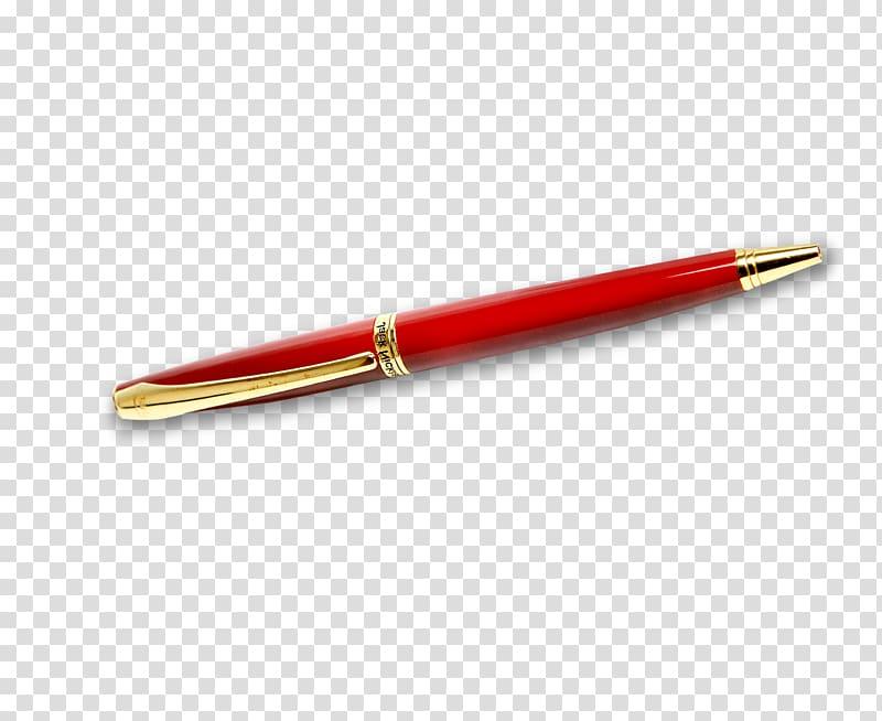 Ballpoint pen Fountain pen, A red pen transparent background.