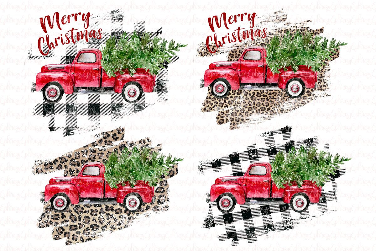 Christmas red truck clipart set.