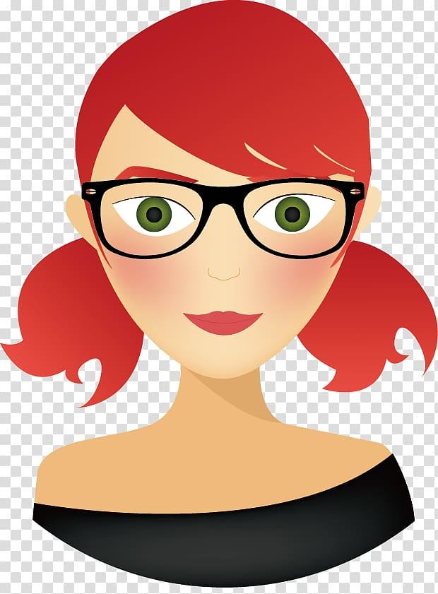 Woman wearing eyeglasses , Avatar Drawing, Redhead Avatar.