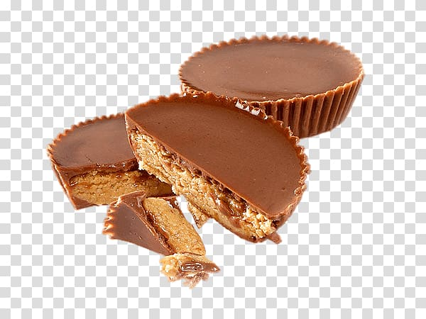 Sliced baked breads, Split Reese\'s Peanut Butter Cups.